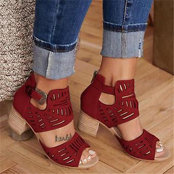 Women Wedge Sandals Mid Heel Summer Slip-on Buckle Ladies Shoes