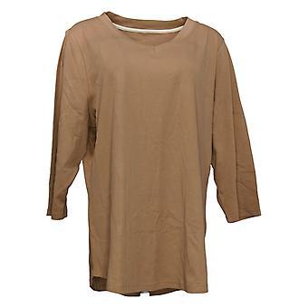 Isaac Mizrahi Live! Women's Top Reg Essentials Cotton Tunic Brown A278784