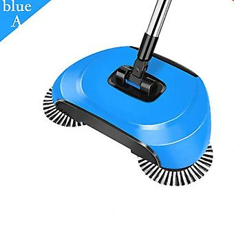 Magic Broom Stainless Steel Sweepe Dustpan Handle Household Hand Push Cleaning Household( Blue)
