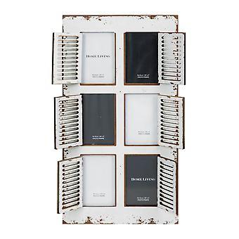 "3.5"" x 5"" - Distressed White 6 Aperture Photo Frame"