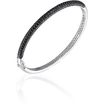 Gisser Jewels - Bracelet - Bangle Half Sphere set with Black Zirconia - 4mm Wide - Size 68 - Gerhodineerd Zilver 925
