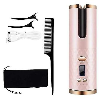 Cordless Automatic Hair Curler Curling Iron Curl Wave Curly Rotating Air Curler Lcd Display Ceramic