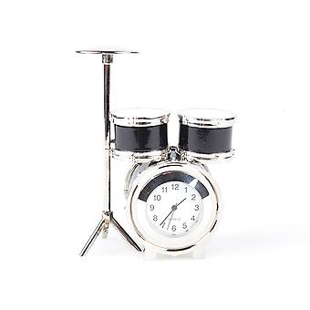 Nektar Drum Designed Clock, Decorative Table Clock, Zinc, 8.5 cm, Desktop Accessories, Gift, White Dial, Black