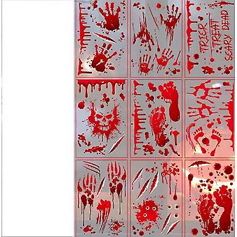 Bloody Window Posters, House Indoor Blood Handprint & Shadowy Horrible Holiday Supplies