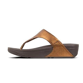 FitFlop Lulu™ Leather Toe Post Sandals In Bronze