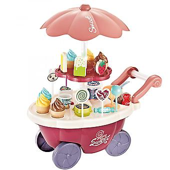 Ice Cream Toy Cart For Kids Educational Trolley Truck Music Lighting And Rotating