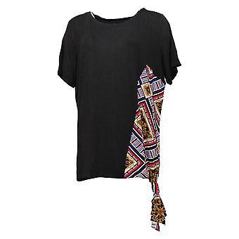 Global Chic By Iman Women's Top Asymetric Scarf Print Black 685771