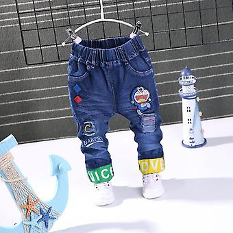 Baby Casual Color Buckle Pants Kids Elasticity Jean Trousers