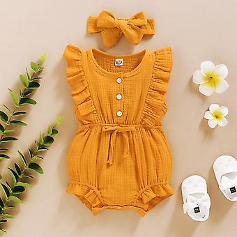 Pasgeboren kleding Baby Romper + Hoofdband