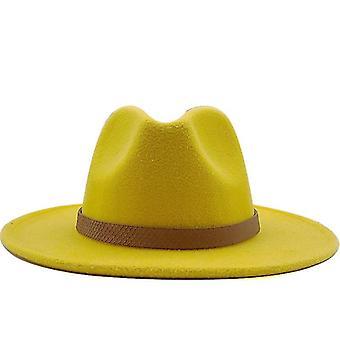 נשים רחב שוליים צמר הרגיש ג'אז בסגנון פנמה כובע מהמר טרילבי