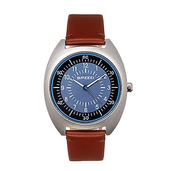 Breed Victor Leather-Band Watch - Blue-Grey/Russet