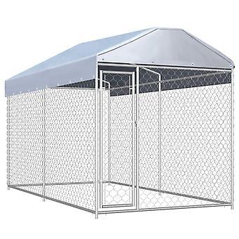Hund udendørs bur med beskyttende baldakin 382x192x235 cm