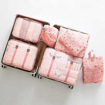 Ensemble de 7 pièces de cubes et de pochettes d'organisateur de voyage d'emballage de bagages (Lucky Cat)