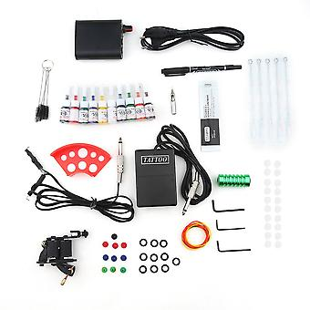 Tattoo Kits Gun Machine Power Pedal 10 Color Ink Sets Needle Gripping Tip