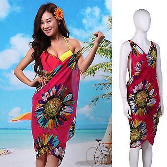 Women Sexy Summer Floral Chiffon Bikini Cover Up Beach Dress Swimwear Wrap