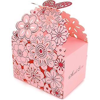 50 Geschenktüten, rosa Süßigkeitenschachtel, geeignet für Hochzeiten und Geburtstagsfeiern