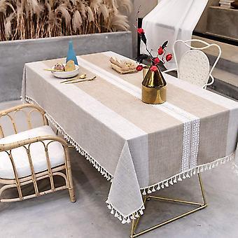 Spleißen Staubdichte Tischdecke, rechteckige Tischdecke, Küchentisch und Couchtisch Dekoration Tischdecke, (140 * 140cm, braun)