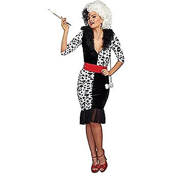 Cruella Cosplay Kostyme Kjole Halloween Rollespill Hele Sett