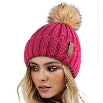 Damen Winter Strickmütze mit Kunstfell Pom Warm Strick Totenkopf Mütze Mütze