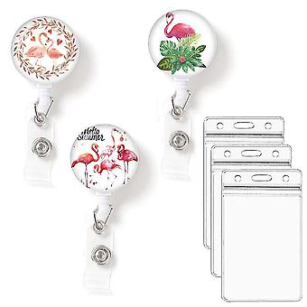 (Flamingos)Leuyuan Pack Of 3 Retractable Id Badge Reelswith Badge Card Cases