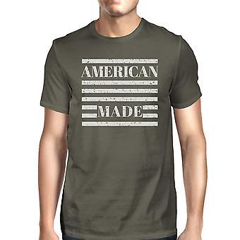 Amerikkalainen tehty miesten tumma harmaa T paita Vintage tulostus graafinen paita