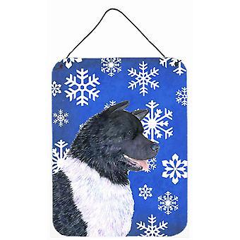 Akita vintern snöflingor Holiday Aluminium metall vägg eller dörr hängande utskrifter
