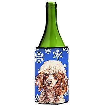 Rød Miniatyr Poodle vinter snøflak vinflaske drikke isolator Hugger
