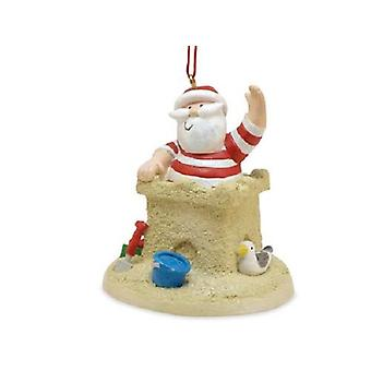 Santa Going Down Chimney Sandcastle Christmas Holiday Ornament Resin