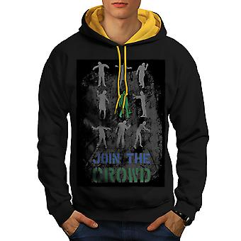 Crowd Apocalypse Men Black (Gold Hood)Contrast Hoodie | Wellcoda