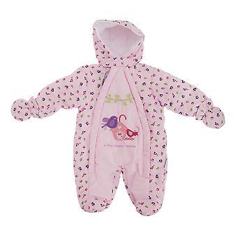 Baby Girls Bird Pattern All In One Hooded Winter Snowsuit
