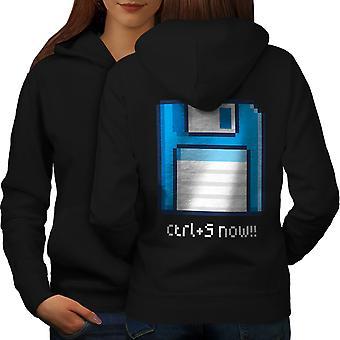 Ctrl S icono mujeres BlackHoodie espalda | Wellcoda