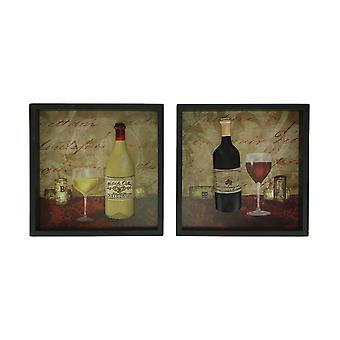 Red and White Wine Themed Wooden Shadowbox Wall Hanging Set of 2