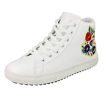 Ladies Spot On Hi-Top Trainer Boots F4396 - White Synthetic - UK Size 6 - EU Size 39 - US Size 8