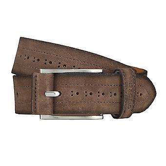 OTTO KERN belts men's belts leather belt suede chocolate/brown 4496