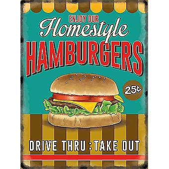 Homestyle гамбургеры большой металлический знак 400 X 300 мм
