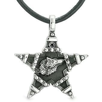 Howling Wolf magische Super ster Pentacle bevoegdheden Amulet zwarte Oostenrijkse tegenhanger van het kristal ketting
