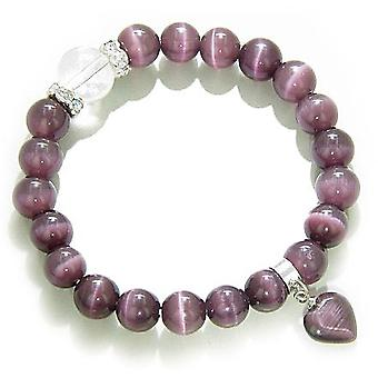 Swarovski and Purple Cats Eye Heart Good Luck Talisman Bracelet