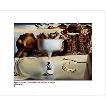 Erscheinung von Gesicht und Obstteller auf ein B Poster Print von Salvador Dali (20 x 16)