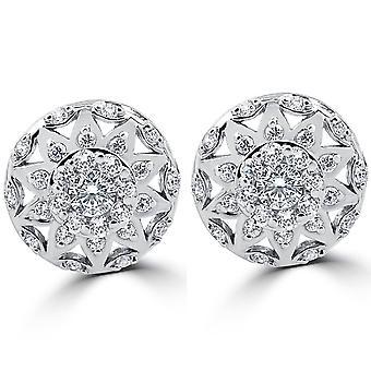 1 / 2ct Винтаж Halo алмазов шпильки 14K Белое золото