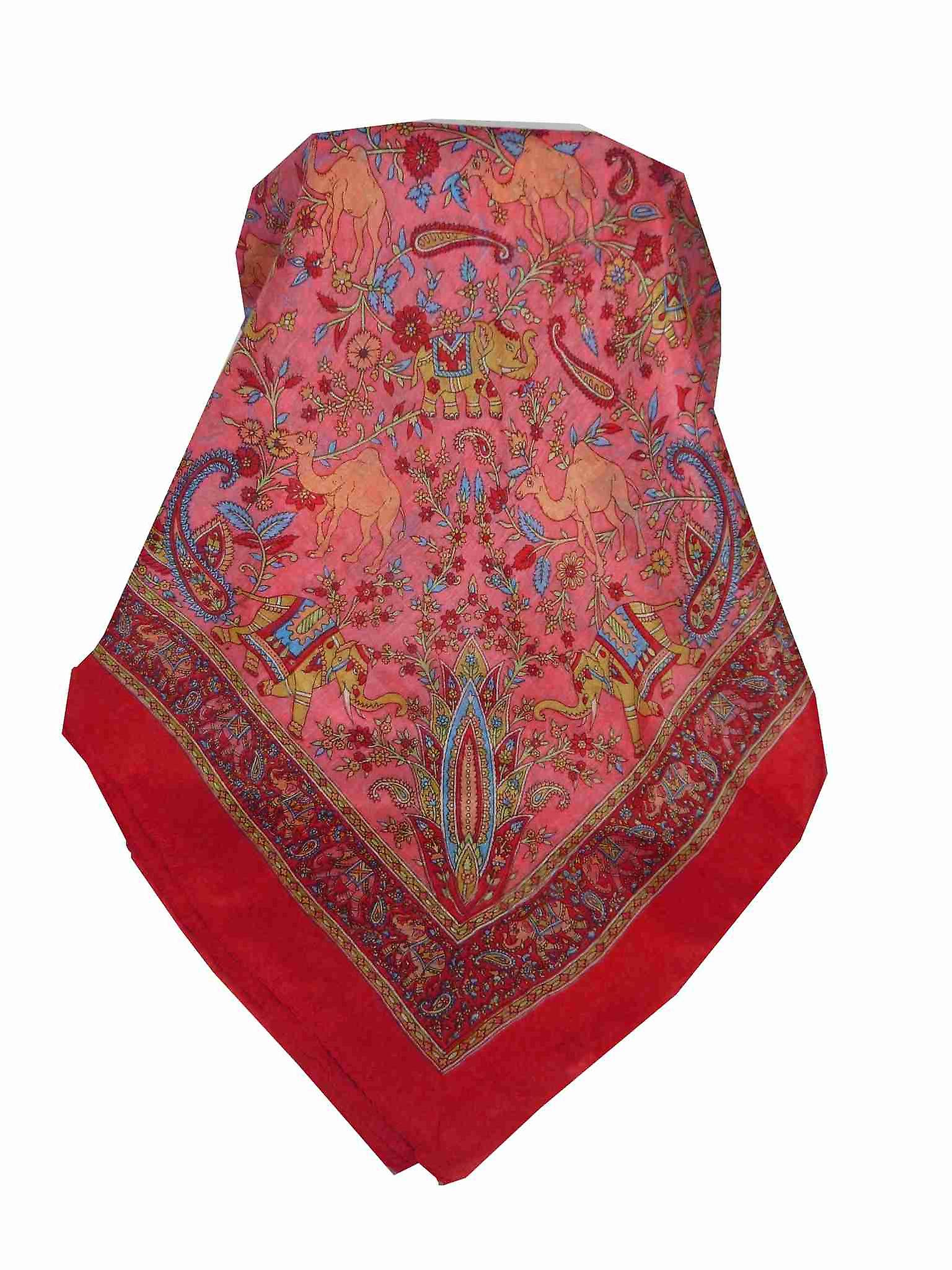 Mulberry Silk Traditional Square Scarf Goral Flame by Pashmina & Silk