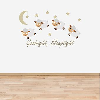 Full Colour Counting Sheep Neutral Nursery Wall Sticker