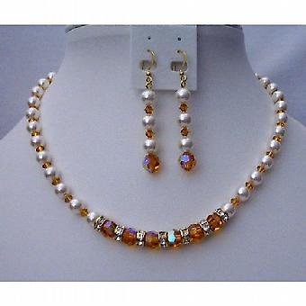 Custom Handcrafted Swarovski Topaz Crystals Pearls Bridal Jewelry