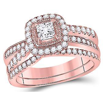 1.00 Carat (Color G-H, I1) Princess Cut Diamond Engagement Ring Wedding Set in 14K Rose Pink Gold