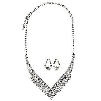 Boda espumoso cristal collar y collar de la joyería conjunto
