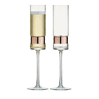 Anton Studio Soho sett med 2 champagne fløyter, bronse