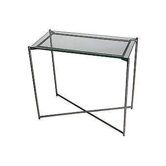 Gillmore Clear Glass Small Console Table With Gun Metal Cross Base