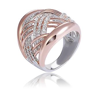 Orphelia Silver 925 Ring Bicolor Rose White Crossing Lines With Zirconium ZR-7447