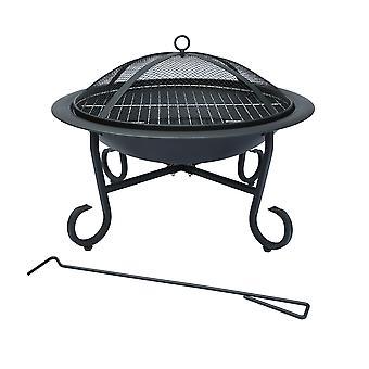 Charles Bentley Round jardín al aire libre patio fuego Pit calentador abierto tazón-raquis para carbón/madera en negro-56cm