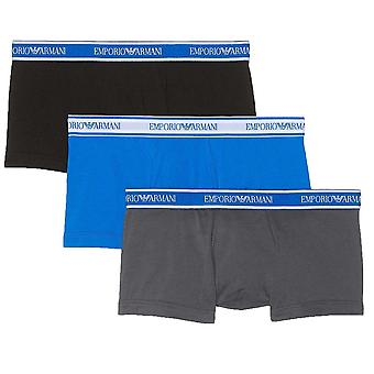 Emporio Armani Fashion Multipack Cotton Stretch 3-Pack Trunk, Grey / Black / Blue, X Large