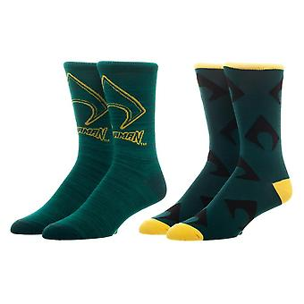 Crew Sock - Aquaman - 2 Pack New Licensed xs6q8ndco